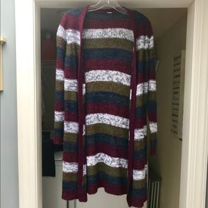 Sweaters - Maroon, Green, Navy Blue and White Long Cardigan